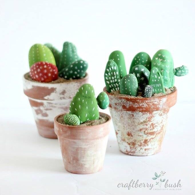 Diy cactus made of painted stone.