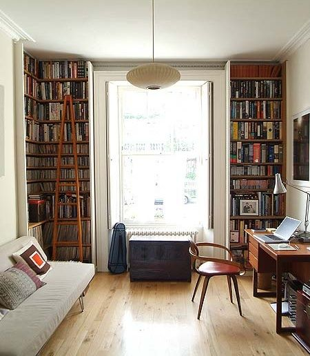 i love the light & high shelves to frame the window; i'd make a window seat or set good seating at the window however: i love the light & high shelves to frame the window; i'd make a window seat or set good seating at the window however