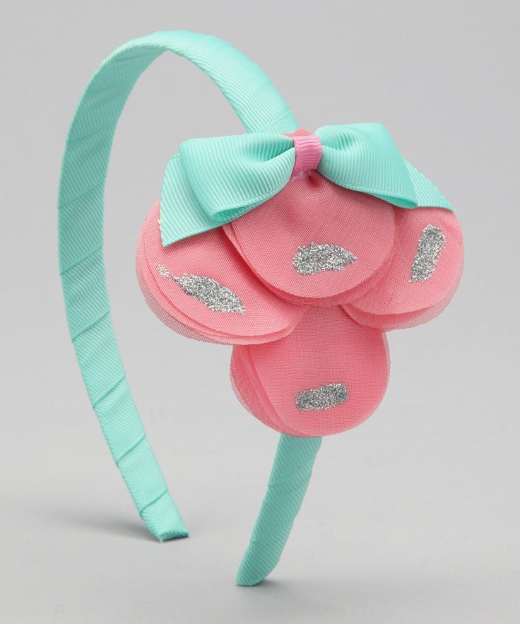 Delightfully Preppy Kids Pink & Turquoise Petal Headband