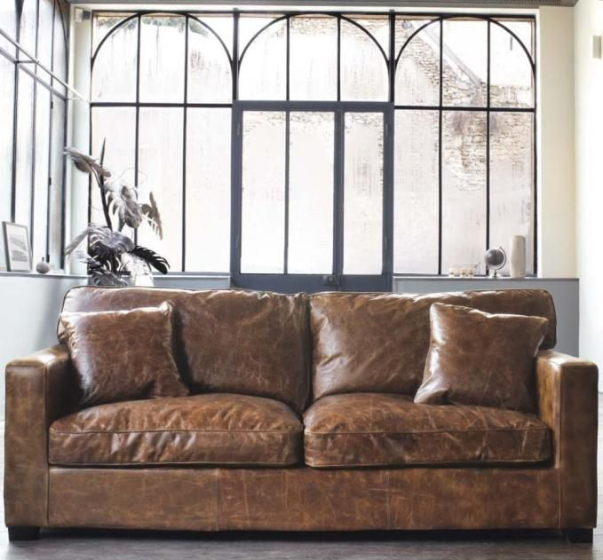 Elegant Distressed Leather Sectional Sofas – Plushemisphere