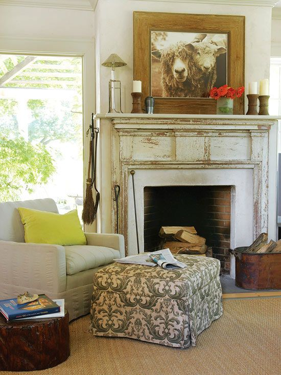 How to Decorate with Flea Market Finds: Fireplaces Mantels, Chic Home, Chairs, Mantle, Cozy Living Rooms, Fleas Marketing Finding, Hearth, Antiques Decor, Fire Places
