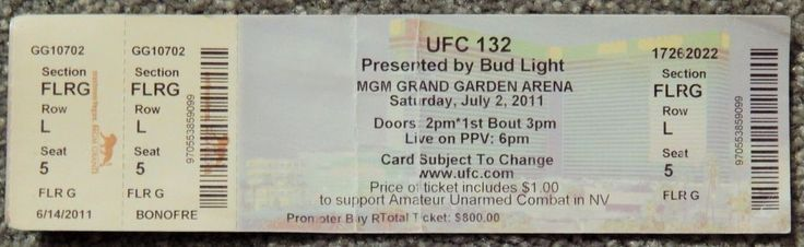 UFC ULTIMATE FIGHTING UFC 132  ORIGINAL USED TICKET MGM LAS VEGAS, july 2 2011 #UFC132