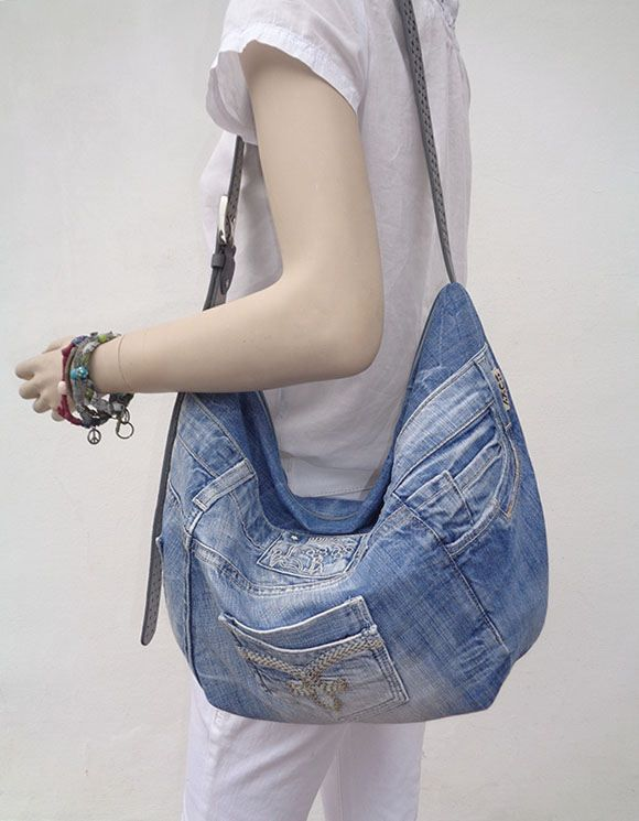 Denim bag slouchy hobo purse cross body summer recycled upcycled light denim by BukiBuki on Etsy