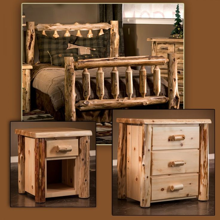 Cedar Lake Frontier Bedroom With Rustic Log Bed Package By JHE Log Furniture  Place