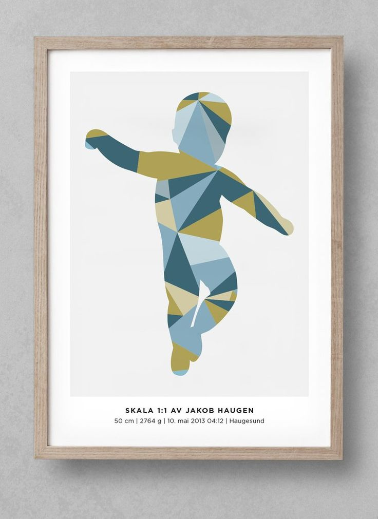 """""""Geometric"""" newborn poster! Customize your unique birthposter at www.fodselsplakat.no and get a beautiful memory for how big your baby actually was when it was born! Free shipping worldwide. Comes in many different colors!"""
