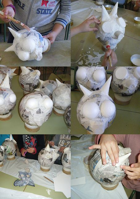 Making the crazy papier mache heads