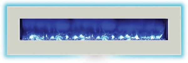 Amantii WM-BI-72-8123-WHTGLS wall-mount electric fireplace with white glass; $2099 cdn.