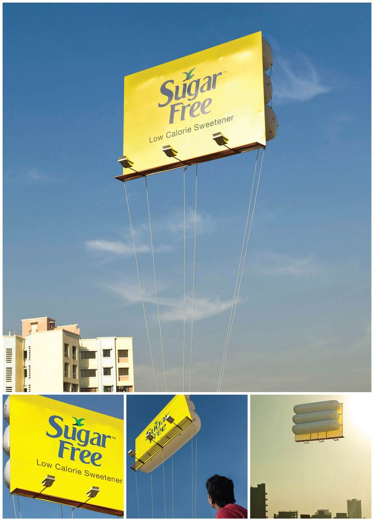 Wide-format print takes off with this flying billboard ad.