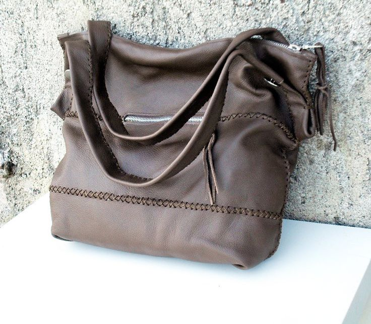 soft brown leather bag with handles and zippers by lazydesigner on Etsy