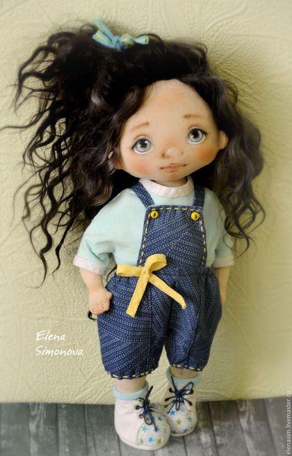 Коллекционные куклы ручной работы. Ярмарка Мастеров - ручная работа. Купить Ника. Handmade. Голубой, интерьерная игрушка, хлопок 100%