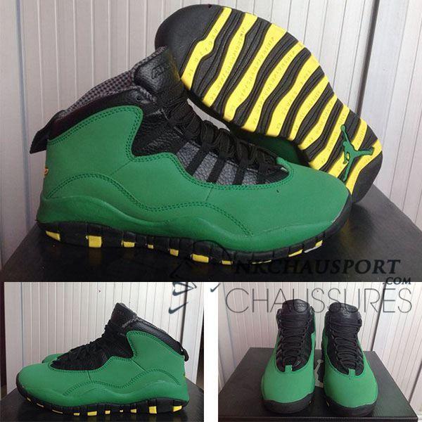 Nike Air Jordan 10   Classique Chaussure De Basket Homme Vert Noir