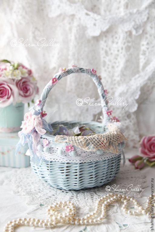 """Купить Корзина """"Flower"""". Голубая, плетеная корзина. - голубой, пасхальный подарок, для Пасхи, пасхальный декор"""