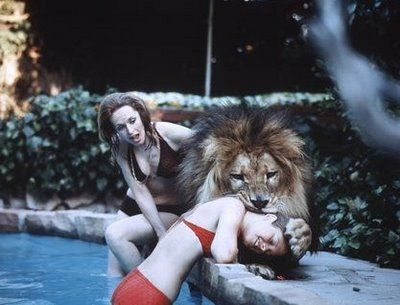Tippi Hendren and her family hang out at the pool and around the house. With their friend Anton LaVey's LION.