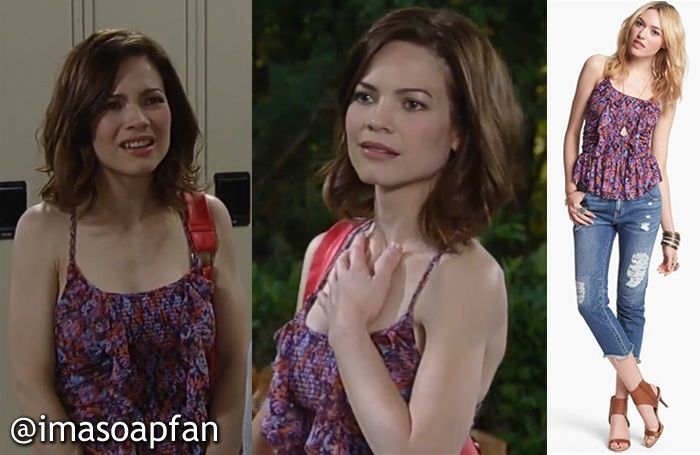 I'm a Soap Fan: Elizabeth Webber's Smocked and Ruffled Purple Top - General Hospital, Season 52, Episode 75, 07/16/14