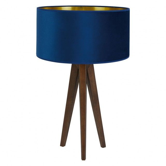 Stained Oak Tripod Table Lamp with