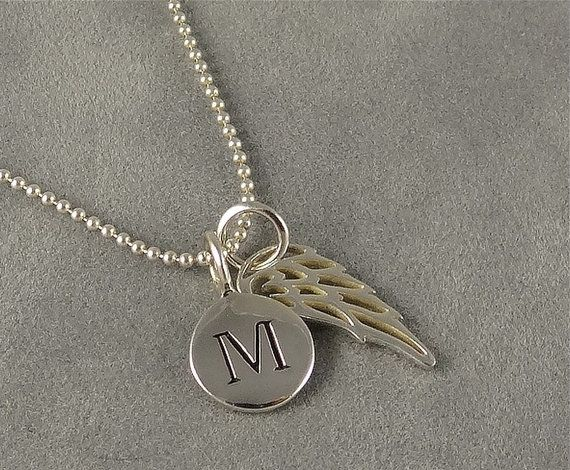 Custom Silver Angel Wing Initial Necklace  by sunflowerjewelry, $34.00
