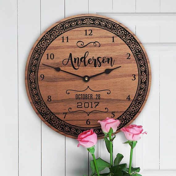"""3 Year Anniversary Gift - 3rd Anniversary Gift - Third Anniversary Gift - 3rd Year Anniversary - For Husband - For Him - Joyful Bliss This item is a great gift for a wedding or anniversary. Personalize this clock with names and date. • 11 diameter • 3/4"""" thick solid oak • Low-level"""