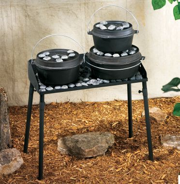Dutch Oven Cooking Table - I so want one of these. Then i won't have to bend over all the time to use my dutch ovens in the fire pit.