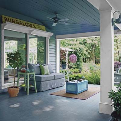 Take a few indoor comforts with you when you go outside this season. Create your own cool breeze with a porch ceiling fan. | Photo: Richard Felber (Styling by Michelle Lay): Paintings Ceilings, Porches Ceilings, This Old Houses, Colors, Outdoor, Blue Ceilings, Porches Furniture, Back Porches, Front Porches