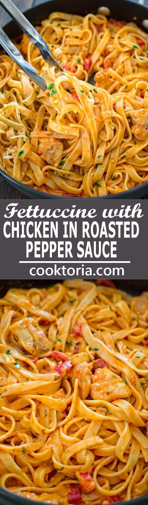 This elegant and creamy Fettuccine with Roasted Pepper Sauce and Chicken is made in under 30 minutes and requires just 6 ingredients. Your guests and family members will love it! ❤ http://COOKTORIA.COM
