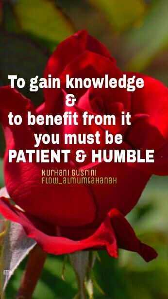 To gain knowledge & to benefit from it you must be PATIENT and HUMBLE