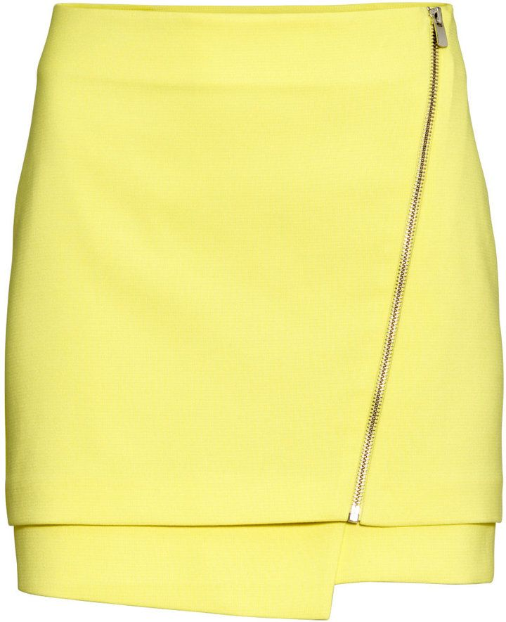 H&M - Short Skirt - Yellow - Ladies