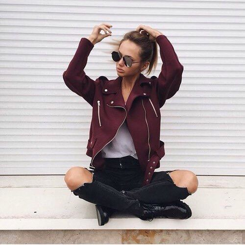 "lookforless: "" Red Tassel Jacket Black Ripped Jean """