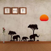 Selva Selvagem Árvore Elefante Dos Desenhos Animados Sun Prairie Removível Do Decalque Home Decor Adesivo de Parede Papel De Parede de alta Qualidade(China (Mainland))