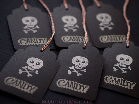 Candy Skull Halloween Hang Tags Gift Tags Black by BubbleGumDish