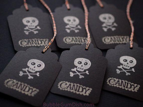 Candy Skull Halloween Hang Tags Gift Tags Black by BubbleGumDish
