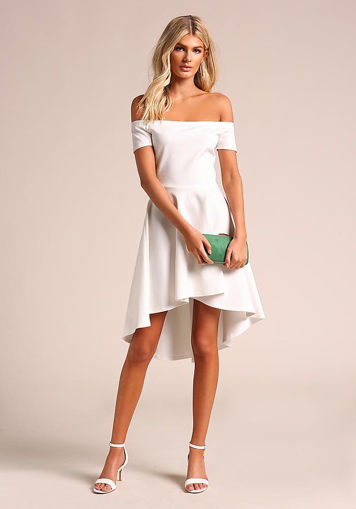 Junior Clothing Off White Off Shoulder Hi Lo Flared Dress Dresses Flare Dress Pretty Dresses