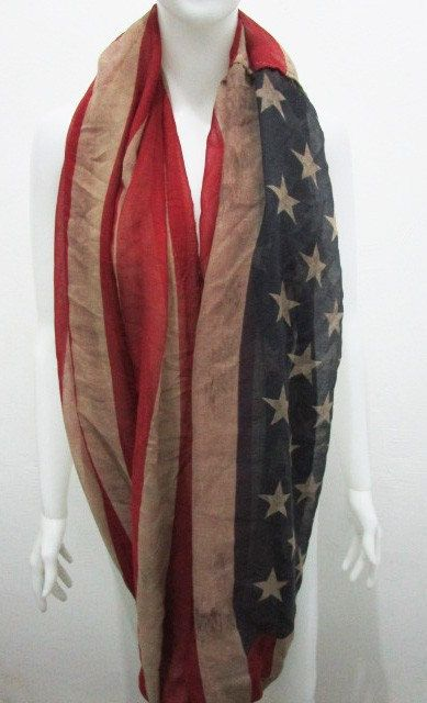 Vintage American Flag Infinity Scarf  For more colors you can visit my shop here:   You will love my High Quality infinity scarf.  Great addition to your wardrobe Or As Gift to someone you LOVE!  This scarf is perfect piece to wear for any occasion!  Measurements: Approx 85cm * 170cm / 33.5 in * 66.9 in  Color: As Photo  It is a very practicle ,useful , feminine , unique , soft and versatile accessory.. Cotton fabric, soft, lightweight.  For best results, hand wash at a temperature below 30…
