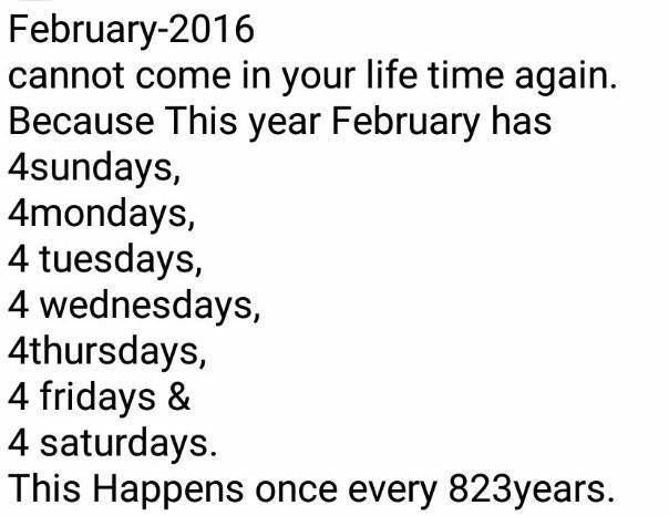 This Happens Every Year Except For Leap Years February Has 28 Days Which