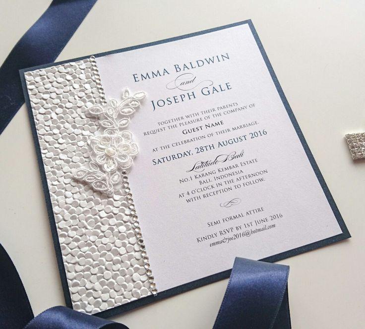 Beautiful textured pebble paper, diamantés and a lace motif.  Www.primadonnastationery.com.au