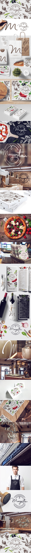 6.Uma identidade visual bem completa, leve, com traços delicados, uma mistura do clássico e moderno para um restaurante e pizzaria! #IdentidadeVisual #Logo #Propaganda #Branding #Creative #TudoMarketing #TudoMkt