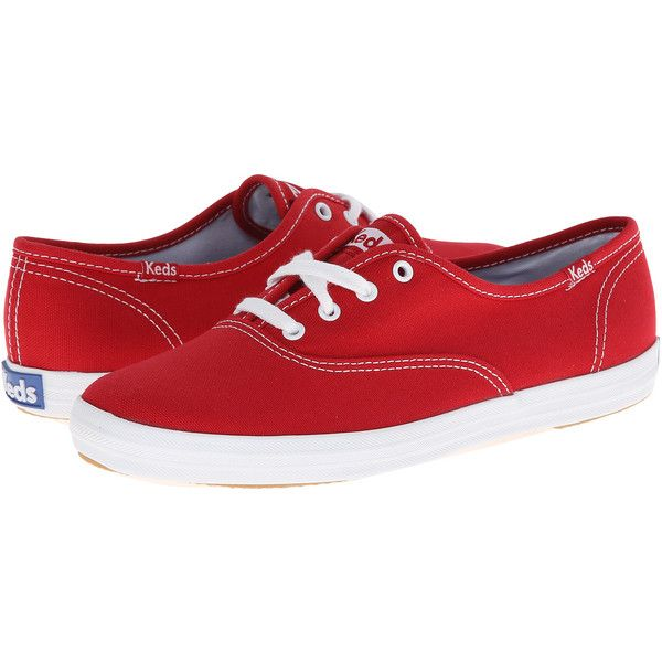 Women's KEDS Champion Cotton Canvas Sneakers ($38) ❤ liked on Polyvore featuring shoes, sneakers, fashion sneakers, red, canvas sneakers, red trainers, cotton shoes, keds shoes and canvas trainers