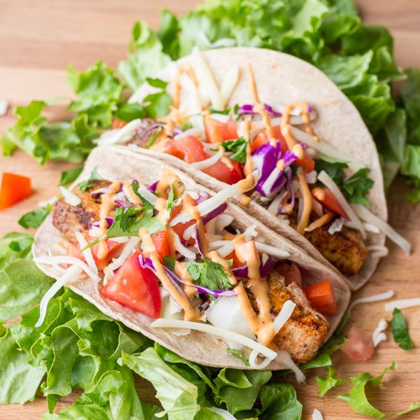 Blackened Mahi-Mahi Tacos with a Chipotle Mayo. Use whole wheat tortilla or for a low carb version use lettuce