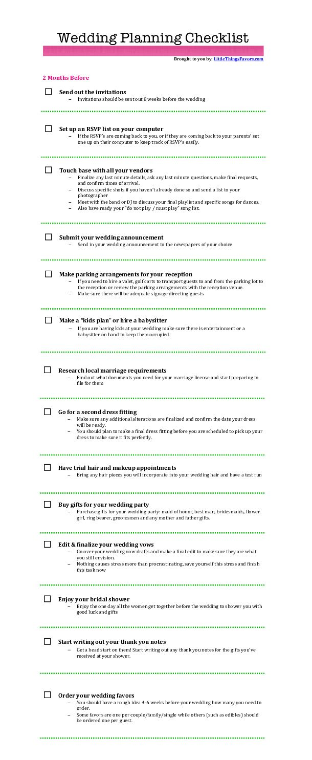 Wedding Planning Checklist For 2 Months Before The Wedding