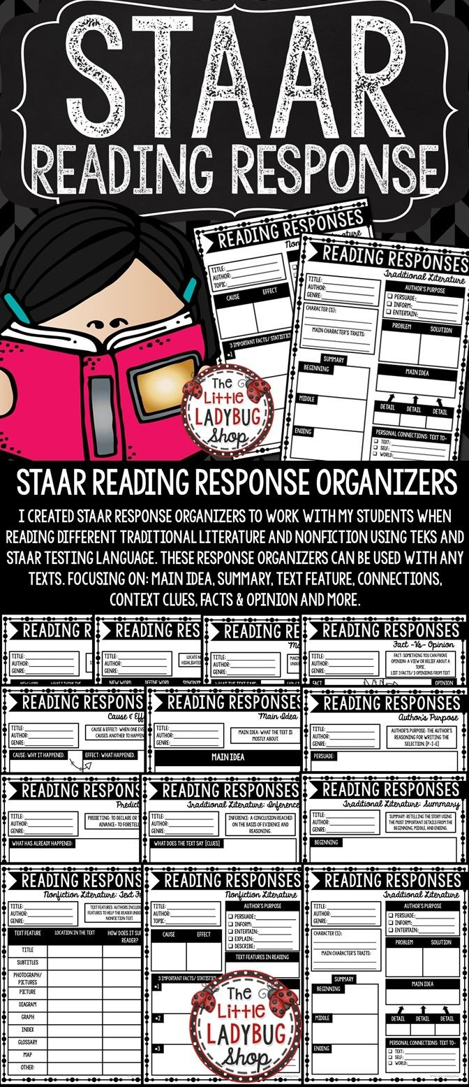 STAAR Reading Response Graphic Organizers. I created these STAAR Response Organizers to work with my students when reading different traditional literature and nonfiction using TEKS and STAAR testing language. These response organizers can be used with any texts. Focusing on: main idea, summary, text feature, connections, context clues, facts & opinion and more.
