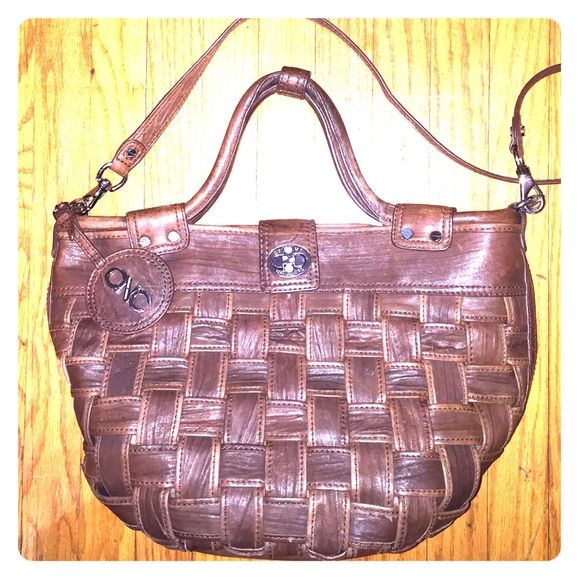 Authentic CoSTUME NATIONAL basket weave purse Beautiful leather. Cross body or hand bag. Minor damage on side as well as minor broken. Costume National Bags