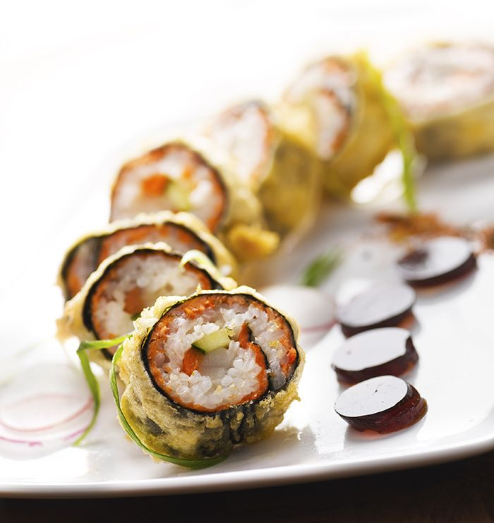 Diva at the Met's signature Diva Roll-  a tempura nori roll filled with salmon, smoked black cod, ponzu, wasabi mayo and cucumber