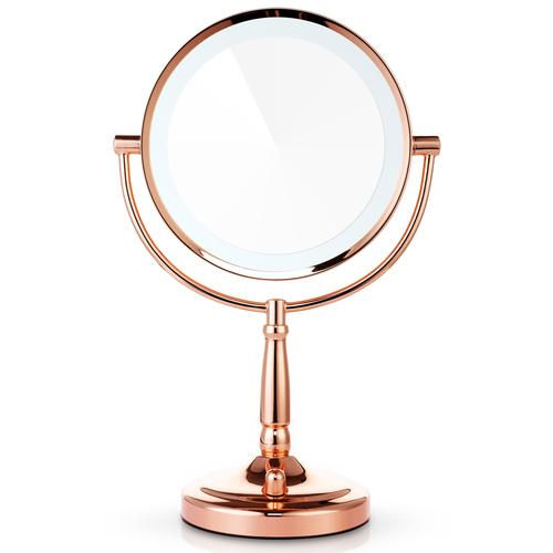 High Quality Miusco 1X 7X Magnification Two Sided Adjustable Warm LED Lighted Makeup  Mirror, 8 Inch,