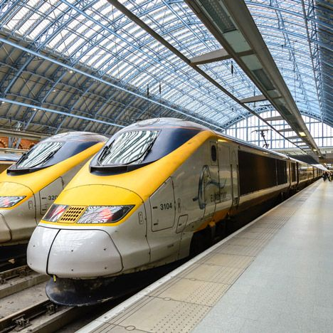 Eurostar trains at St Pancras station in London. Taking the train to Paris from London and beyond.