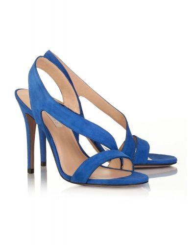 Sandalias Pura López de tacón alto en ante azul