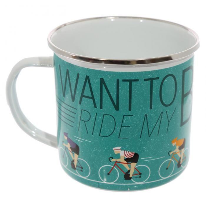 "Smaltovaný hrnek Cyklista ""I want to ride my bicycle"" #dekorace #doplnky #kolo #bicycle #accessories #giftware #hrnek #IWantToRideMyBicycle #mug"