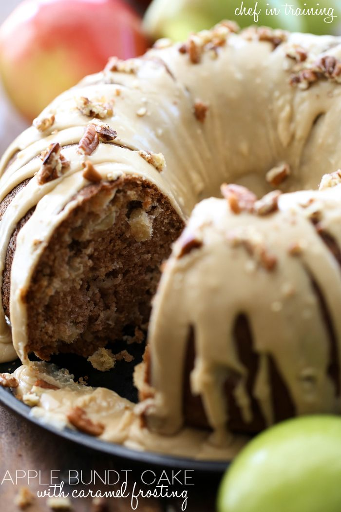 Apple Bundt Cake with Caramel Frosting... this cake is perfect for fall and has a delicious caramel-apple flavor combo!