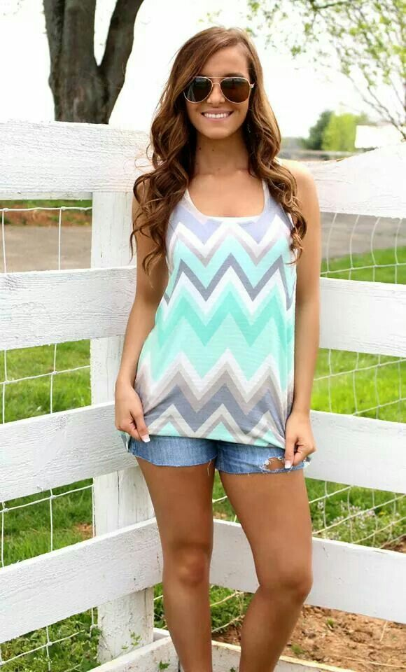 Mint & gray chevron shirt