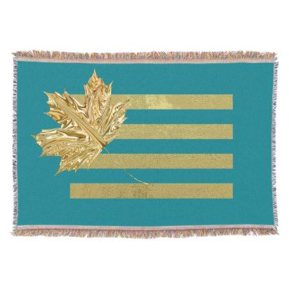 Gold Maple Leaf Turquoise Throw Blanket - home gifts ideas decor special unique custom individual customized individualized