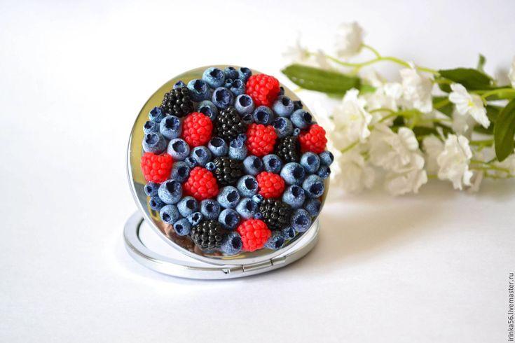 """Купить Зеркало """"Ягодки"""" - разноцветный, ягоды, ежевика, малина, черника, подарок, подарок девушке"""