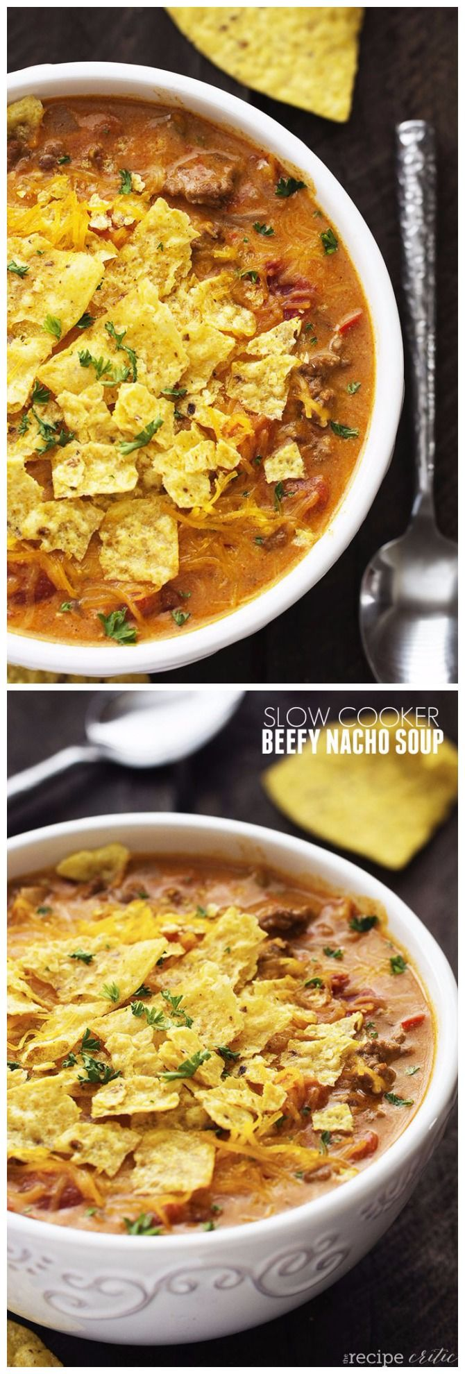 Slow Cooker Beefy Nacho Soup. I made this this with stew meat! It was so easy, and so delicious!